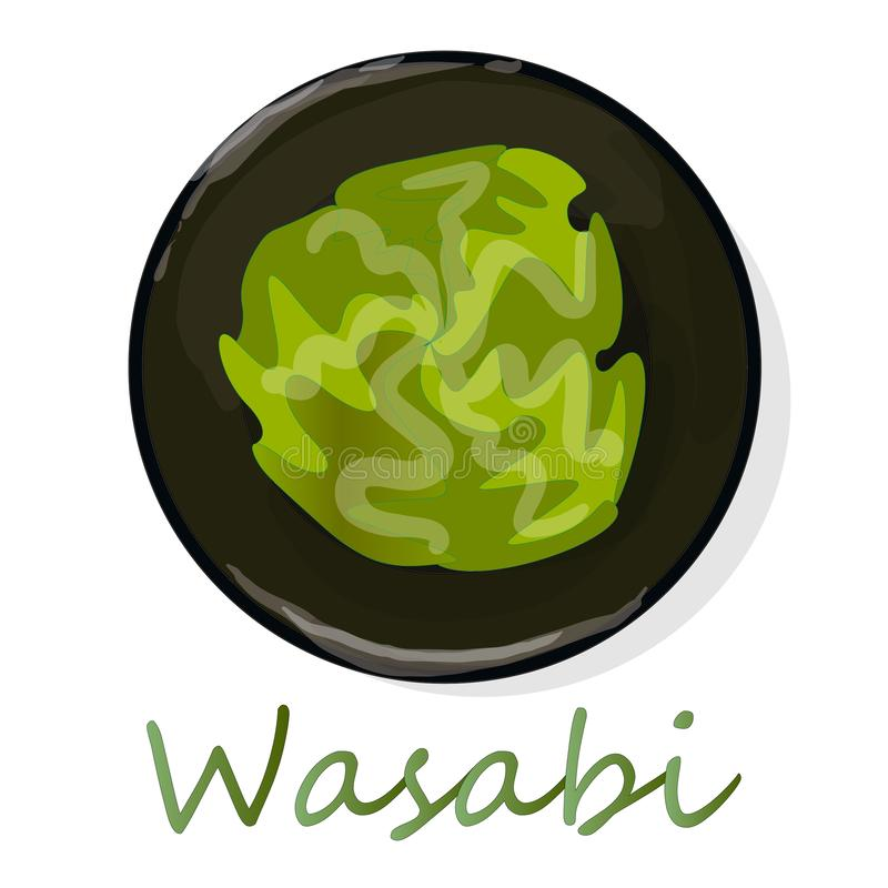 Wasabi Japanese horseradish in black cup illustration on white bacground vector illustration