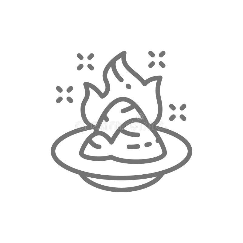 Wasabi japansk pepparrot, kryddig krydda linje symbol vektor illustrationer