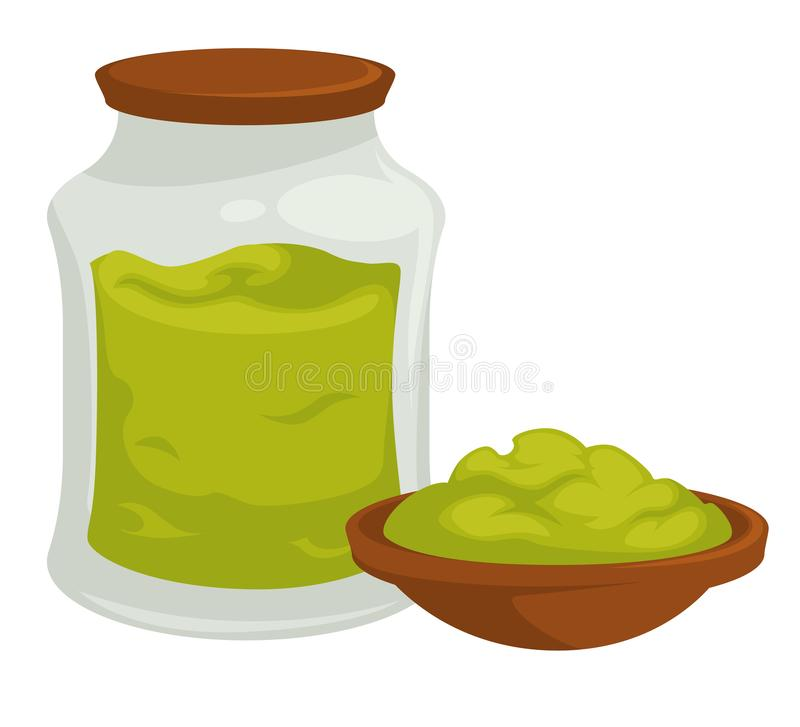 Wasabi in pot with cap spicy asian product vector. Isolated glass container with horseradish of green color ingredient, for dishes organic natural seasoning in stock illustration