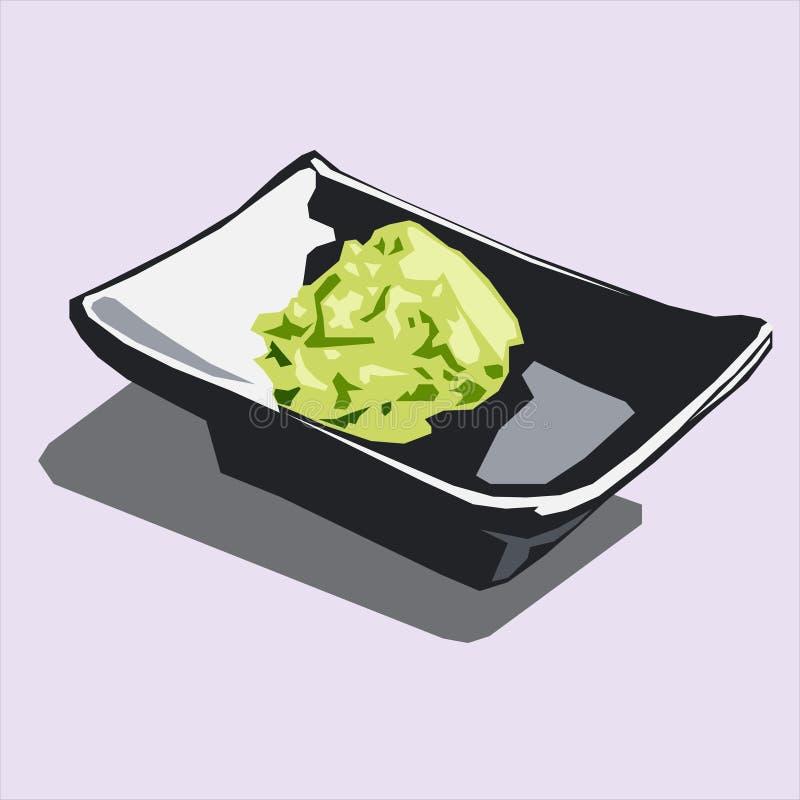 Wasabi sull'avatar di logo dell'icona della banda nera illustrazione di stock