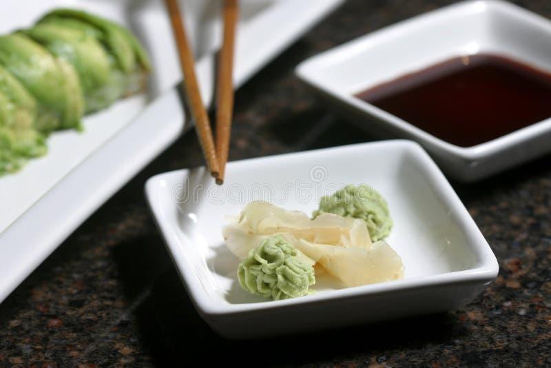 Wasabi u. Ingwer lizenzfreies stockbild