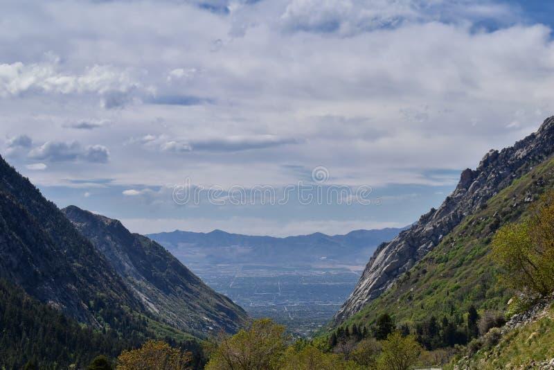 Wasatch全景朝向从看往大盐湖谷的小的三角叶杨峡谷的落矶山及早 库存照片