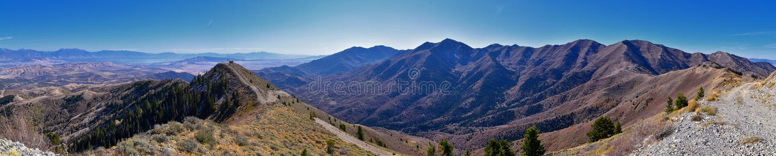 Wasatch Front Rocky Mountain landscapes from Oquirrh range looking at Utah Lake during fall. Panorama views near Provo, Timpanogos. Lone and Twin Peaks. Salt stock images
