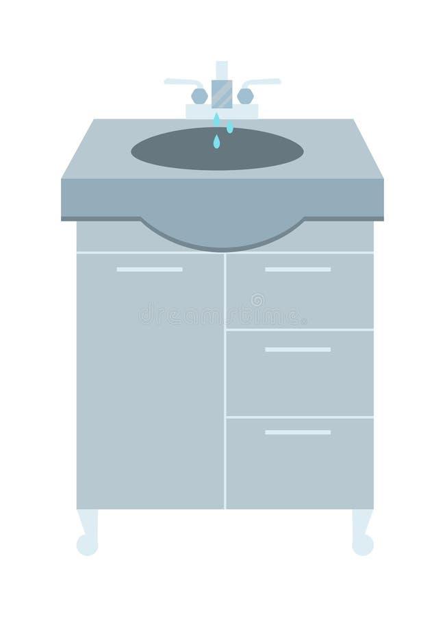 Wasbak en tapkraan met de badkamers binnenlandse vlakke vectorillustratie van de waterdaling thuis stock illustratie