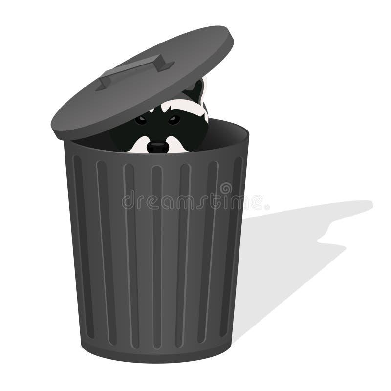 Wasbeer in de vuilnisbak stock illustratie