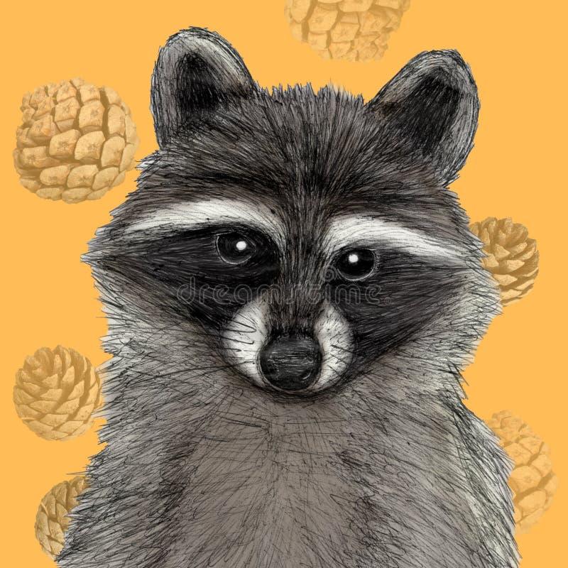 Wasbeerillustratie in pen met digitale kleur wordt getrokken die royalty-vrije illustratie