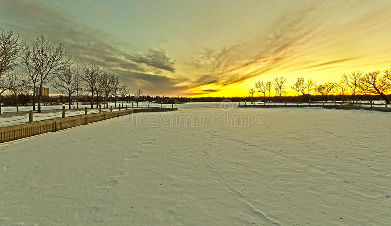 Wascana lake freezing royalty free stock image