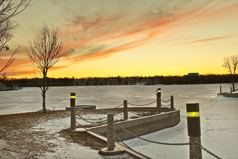 Wascana lake freezing stock photo