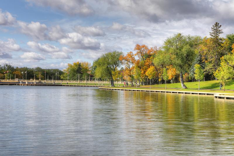 Wascana Lake i Regina, Kanada arkivfoton