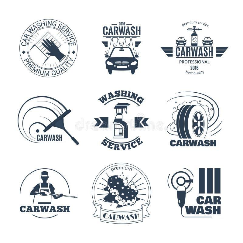 Waschanlage-schwarze Emblem-Ikonen eingestellt vektor abbildung
