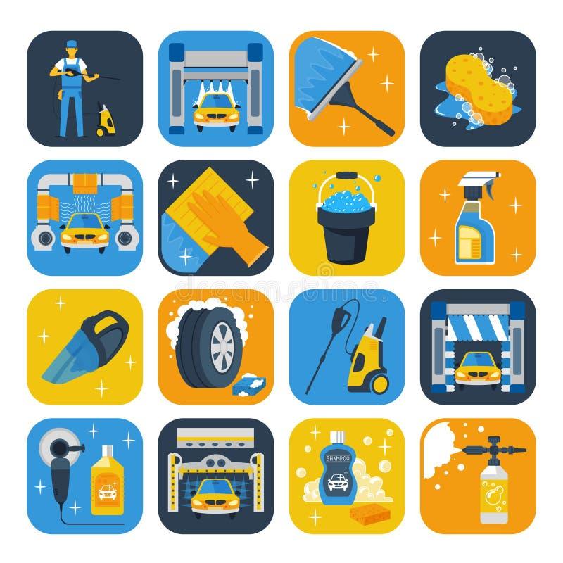 Waschanlage-Symbol-flache Ikonen eingestellt stock abbildung