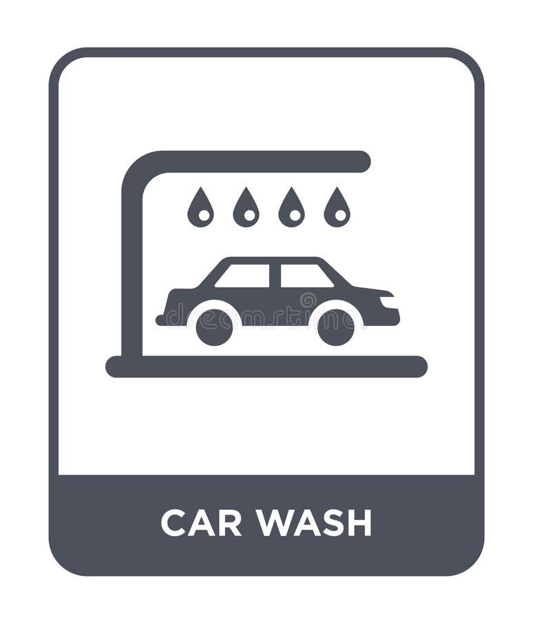 Waschanlageikone in der modischen Entwurfsart Waschanlageikone lokalisiert auf weißem Hintergrund einfache und moderne Ebene der  lizenzfreie abbildung