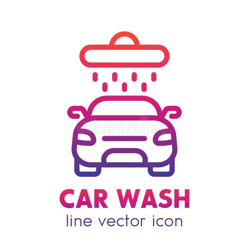 Waschanlageikone, lineares Logoelement über Weiß vektor abbildung