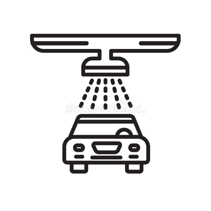 Waschanlageikonenvektorzeichen und -symbol lokalisiert auf weißem backgroun stock abbildung