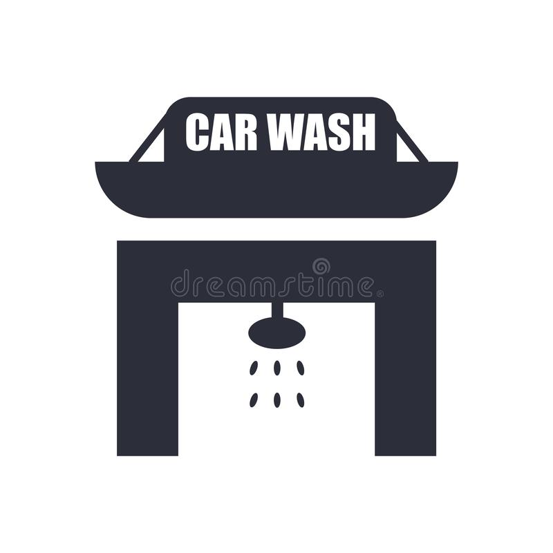 Waschanlageikonenvektorzeichen und -symbol lokalisiert auf weißem Hintergrund, Waschanlagelogokonzept lizenzfreie abbildung