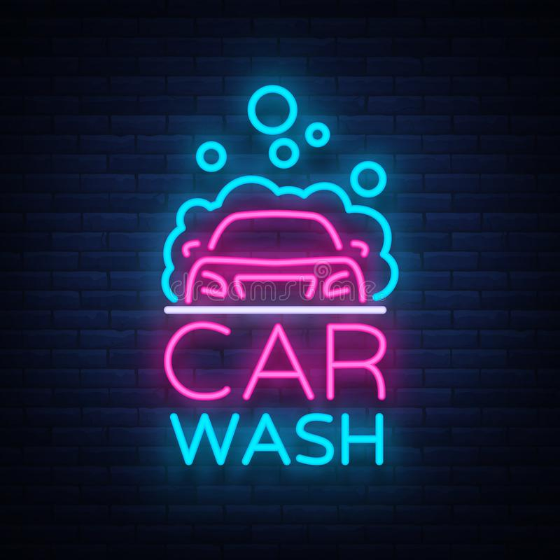 Waschanlagelogo-Vektordesign in der Neonartvektorillustration lokalisiert Schablone, Konzept, leuchtende Schildikone auf a lizenzfreie abbildung