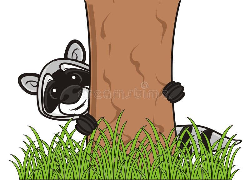Waschbär, der hinter einem Baum sich versteckt vektor abbildung