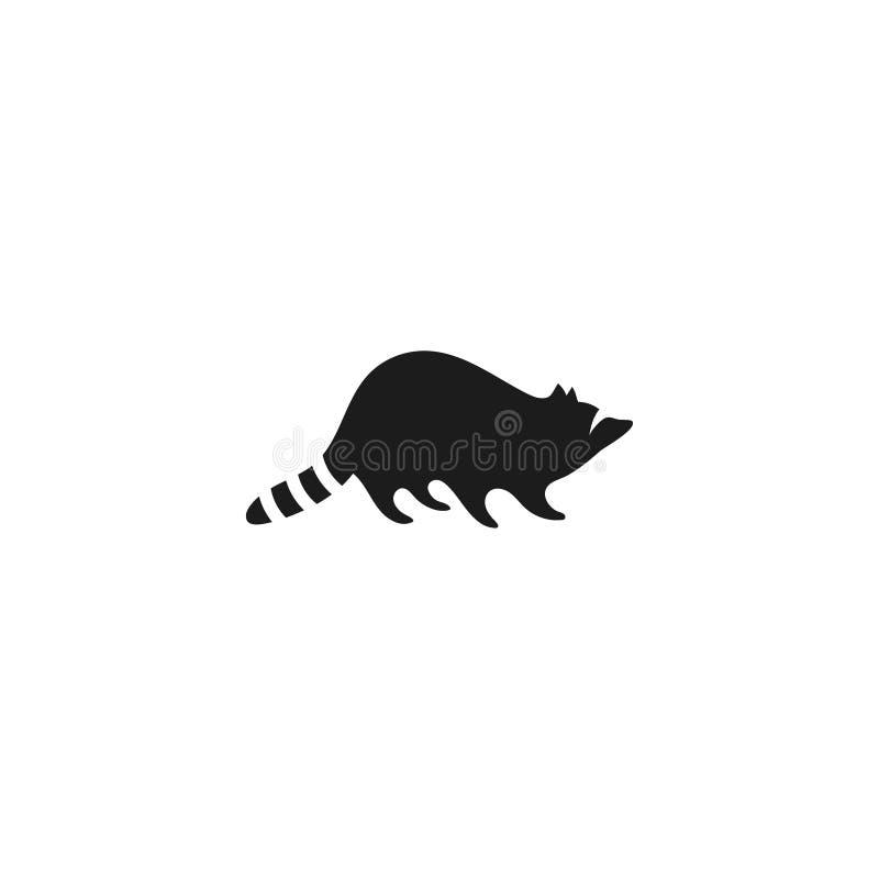 Waschbärikone, lokalisiert auf weißem Hintergrund Schwarzes Waschbärschattenbild Logo für Ihr Projekt lizenzfreie abbildung