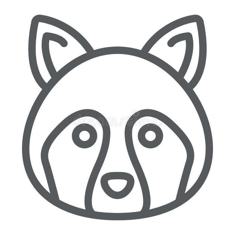 Waschbärlinie Ikone, Tier und Zoo, Waschbärzeichen lizenzfreie abbildung