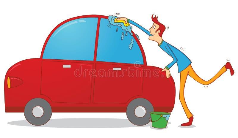 Waschen eines Autos stock abbildung