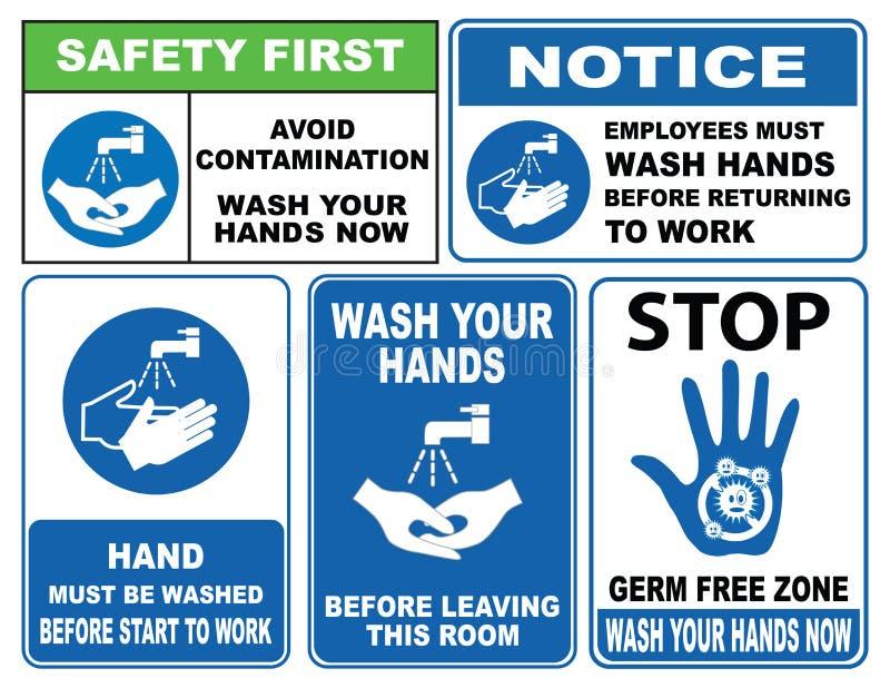 Waschen Sie Ihr Handzeichen stock abbildung