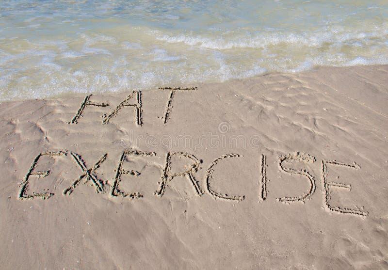 Waschen Sie weg das Fett mit Übung stockfoto