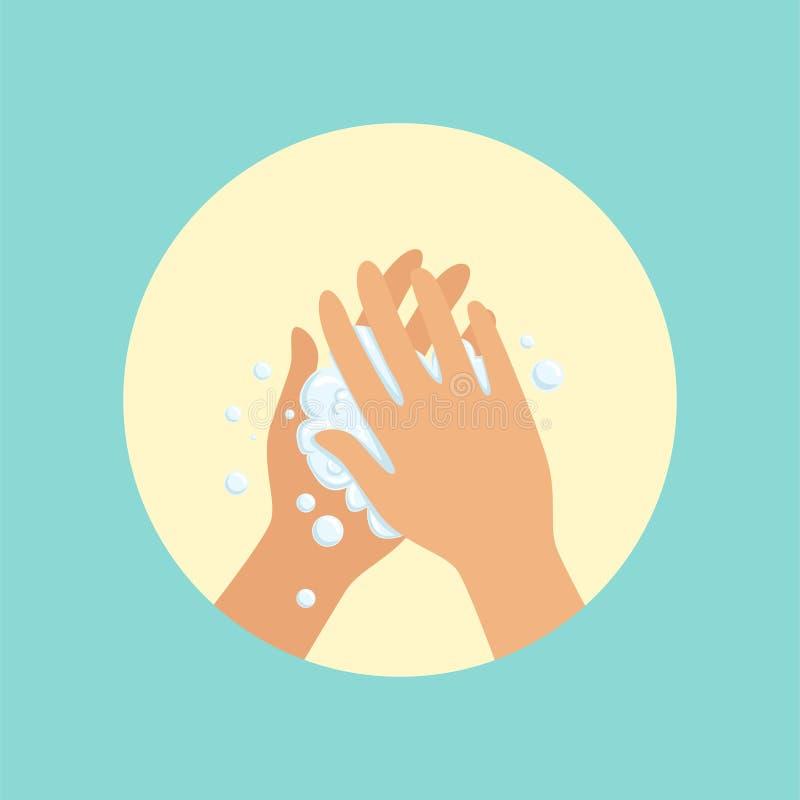 Waschende Hände mit Seifenpalme zu runder Illustration Vektor der Palme stock abbildung