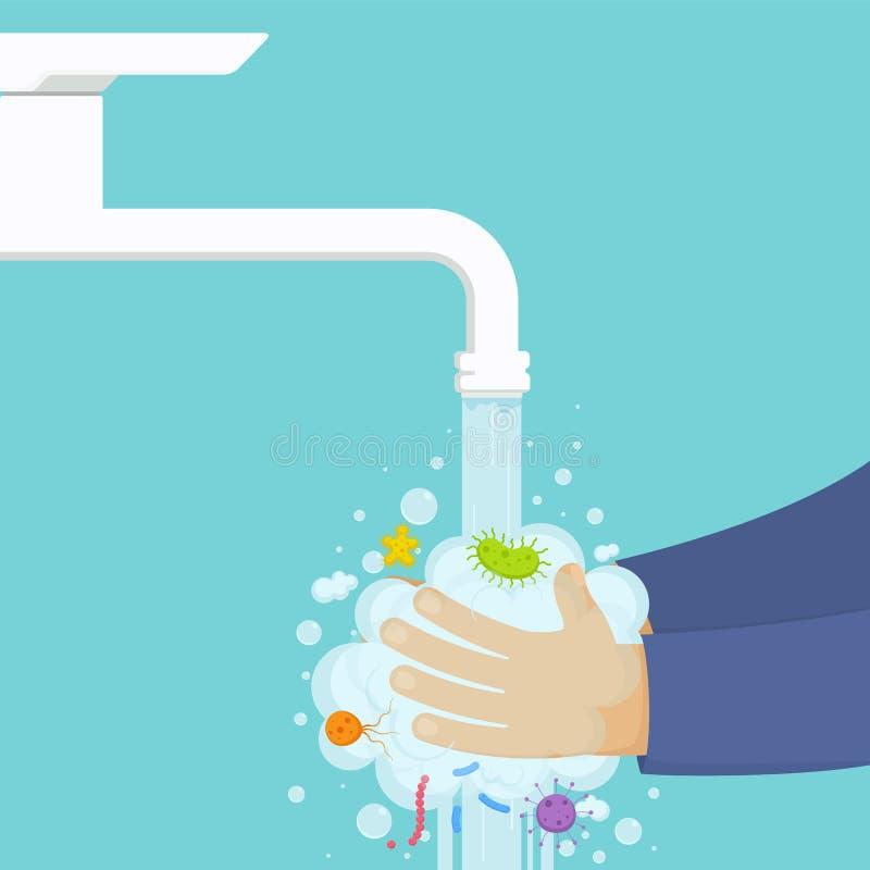 Waschende Hände unter dem Hahn mit Seife, Hygienekonzept Reinigungshände von den Mikroben, Bakterien vektor abbildung