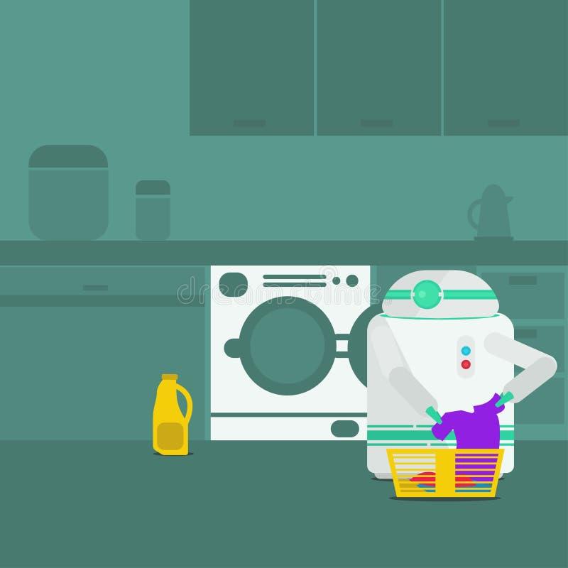 Waschende Kleidung des inländischen Roboters lizenzfreie abbildung