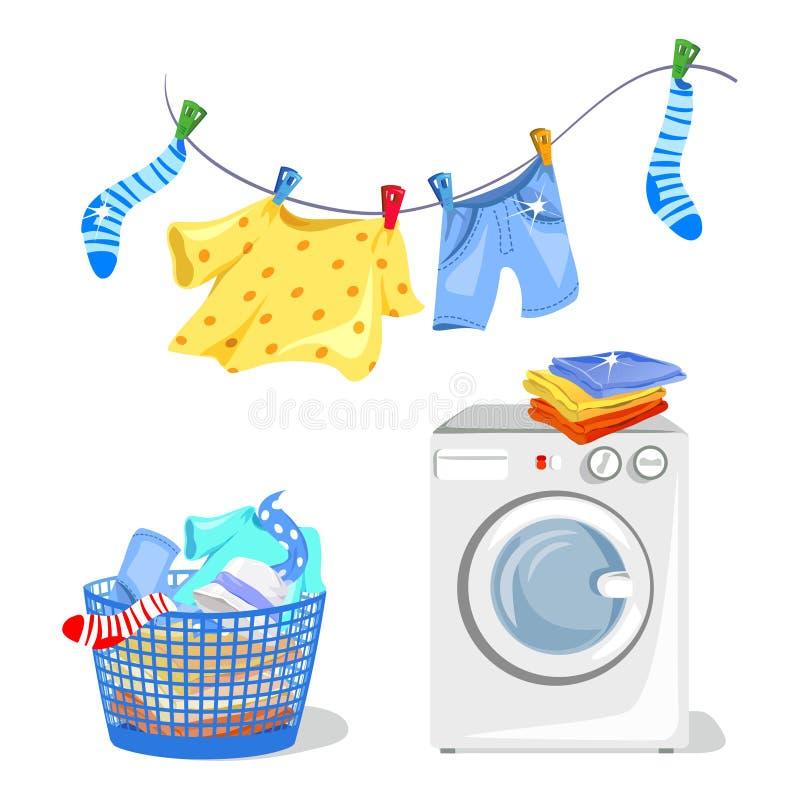 Waschende Kleidung, Waschmaschine lizenzfreie abbildung