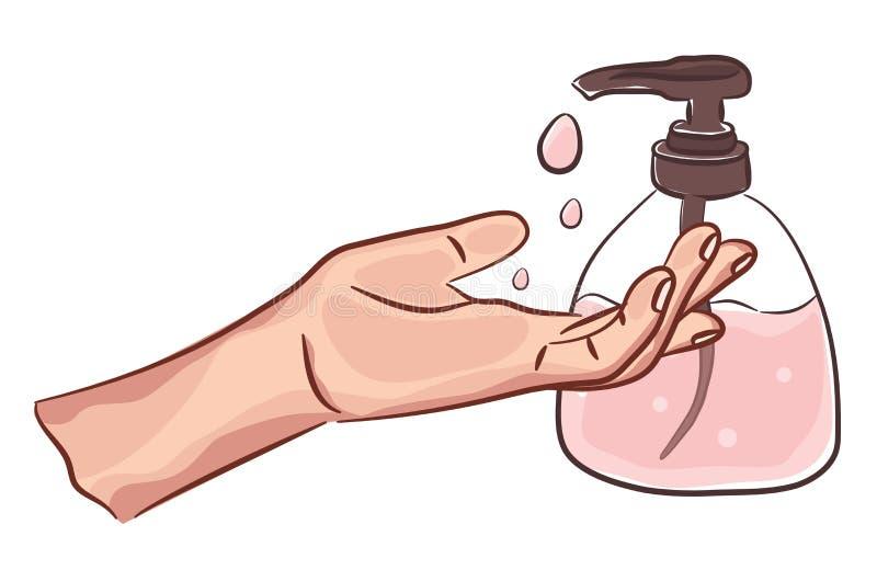 Waschende saubere Hände mit Seife Handwashing Persönliche Hygiene Desinfektion, Desinfiziererhautpflege Illustrationszeichnung vektor abbildung