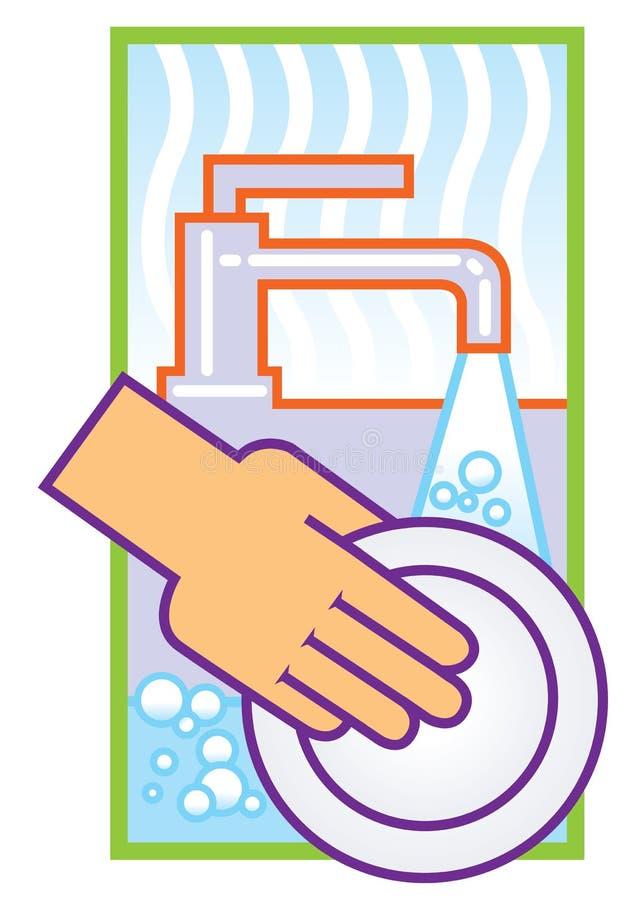 Waschende Teller stock abbildung