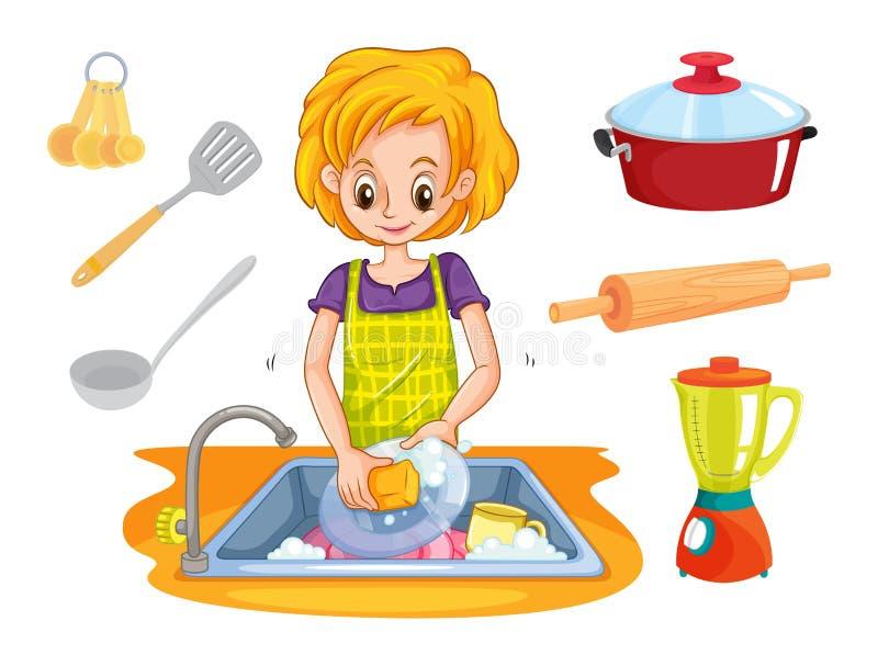 Waschende Teller der Frau in der Wanne lizenzfreie abbildung