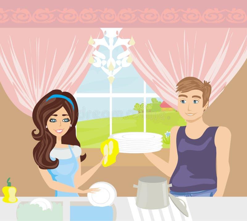Waschende Teller der Paare in der Küche vektor abbildung