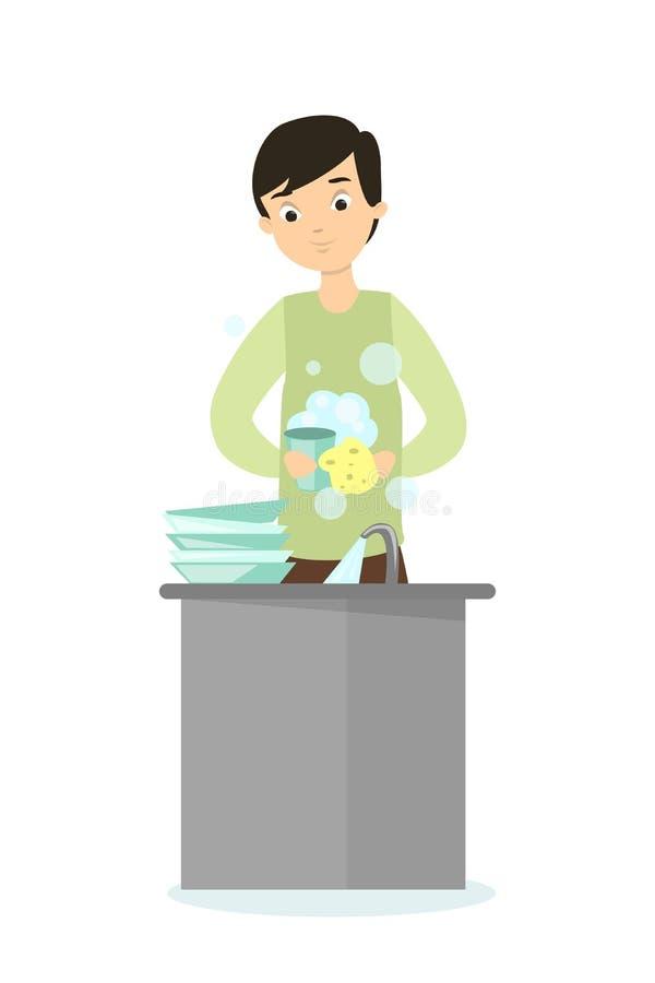 Waschende Teller des Mannes vektor abbildung