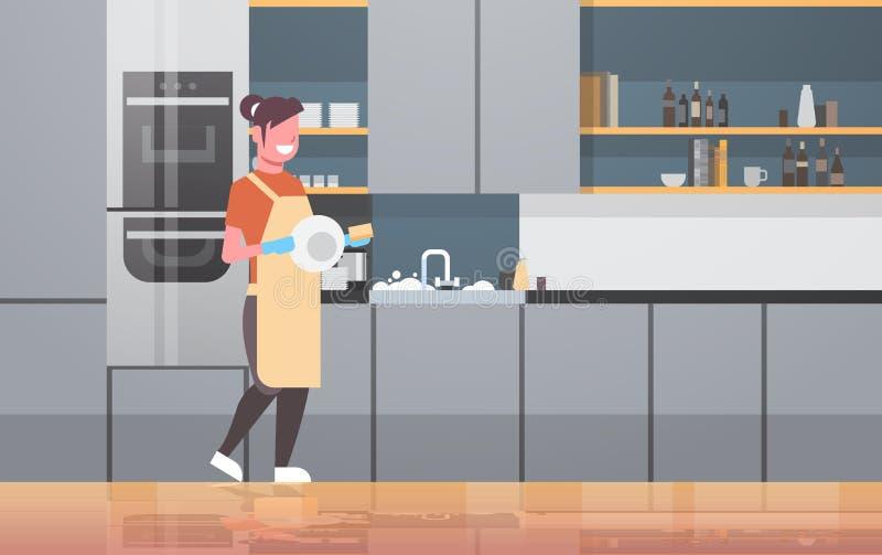Waschendes lächelndes Mädchen der Teller der jungen Frau, welches abwaschkonzept-Hausfrauhandeln der modernen Küche der Platte vektor abbildung