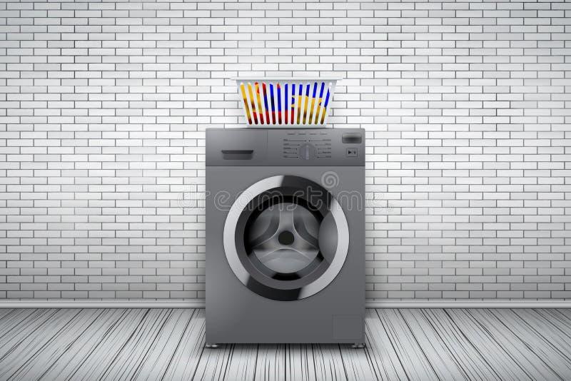 Waschküche der Backsteinmauer und der Waschmaschine stock abbildung