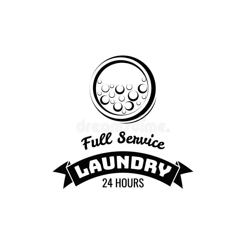 Waschkücheaufkleber und -ausweis Waschmaschine, Waschmaschine bubbbles vektor abbildung