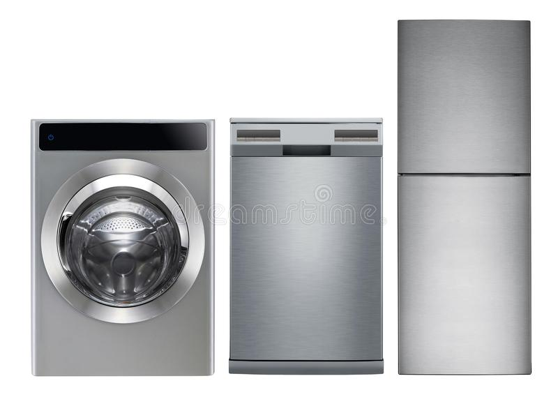 Waschmaschine, Spülmaschine und Kühlschrank lizenzfreies stockbild