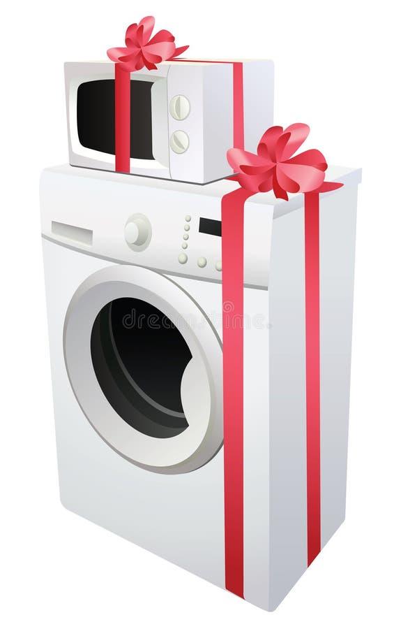 Waschmaschine und Mikrowelle mit Farbband stock abbildung