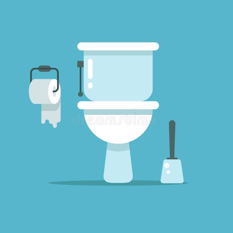 Waschraum, Toilettenschüssel, Bidet mit mit Toilettenpapier und Toilettenbürstenvektorillustration vektor abbildung