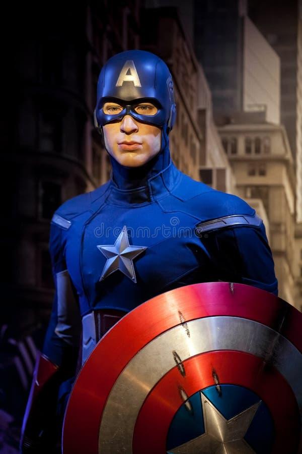 Wascijfer van Chris Evans als Kapitein America in Mevrouw Tussauds Wax-museum in Amsterdam, Nederland royalty-vrije stock foto