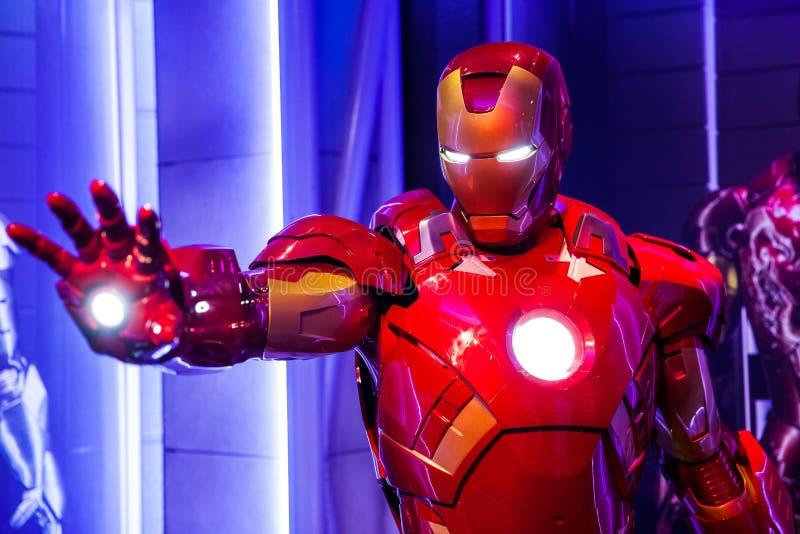 Wascijfer van Tony Stark de Ijzerman van Wonderstrippagina in Mevrouw Tussauds Wax-museum in Amsterdam, Nederland stock afbeelding