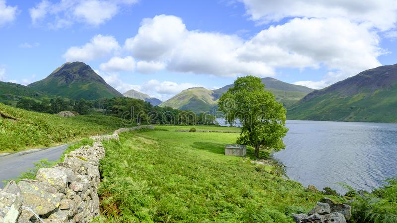 Wast Water towards Wasdale and Scafell Pike, Lake District, UK stock photos