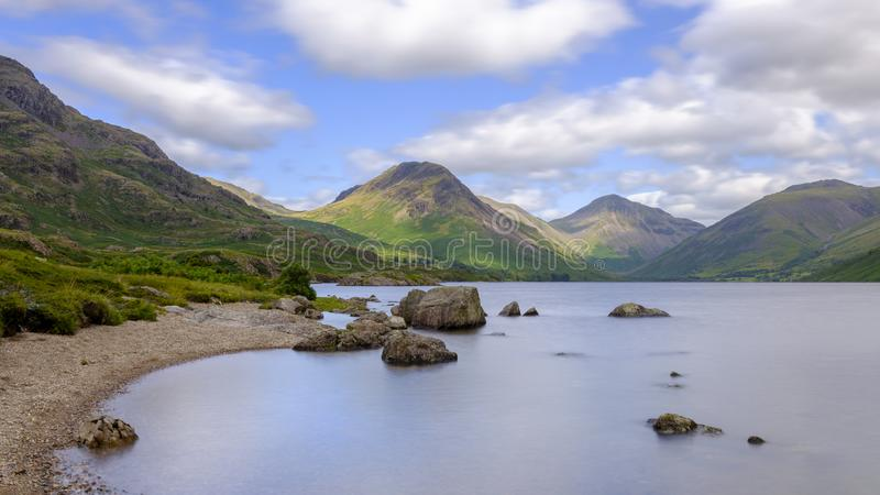Wast Water towards Wasdale and Scafell Pike, Lake District, UK stock photography