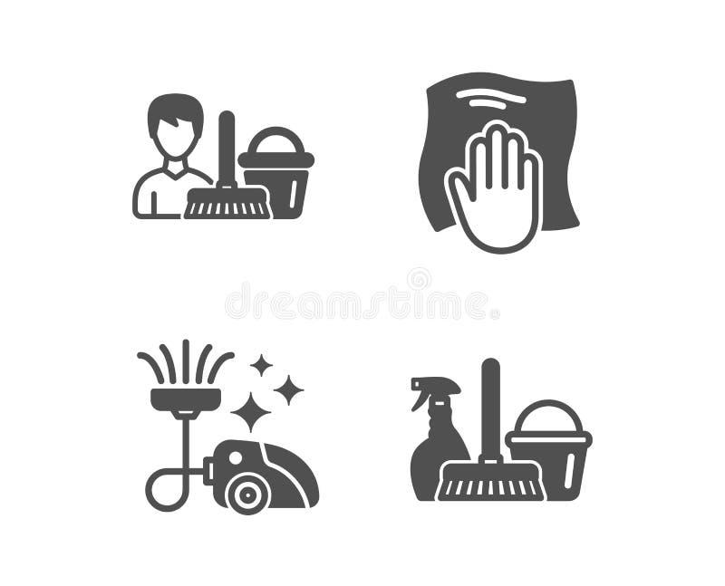 Wasdoek, stofzuiger en Schoonmakende de dienstpictogrammen Het teken van de huishoudendienst Vector stock illustratie