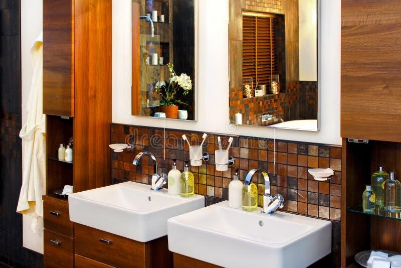 Wash basin. Double wash basin in luxury elegant bathroom royalty free stock images