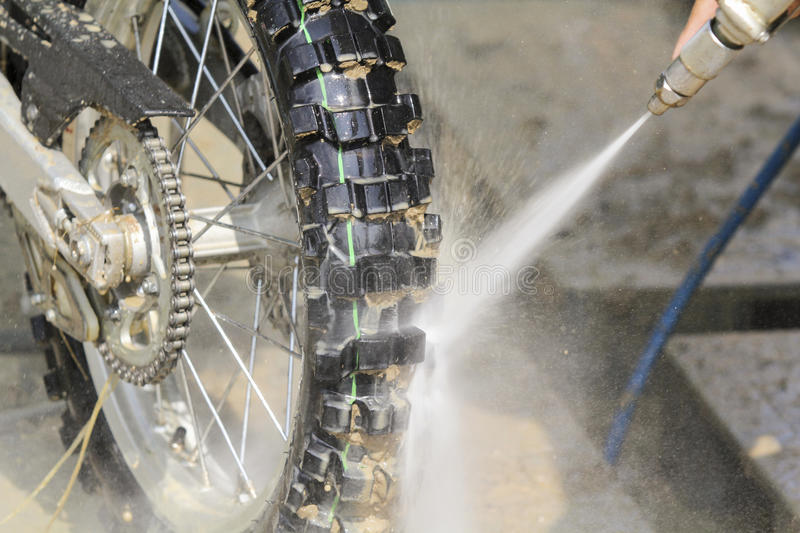 Wash Dirt Bike. After race royalty free stock photography