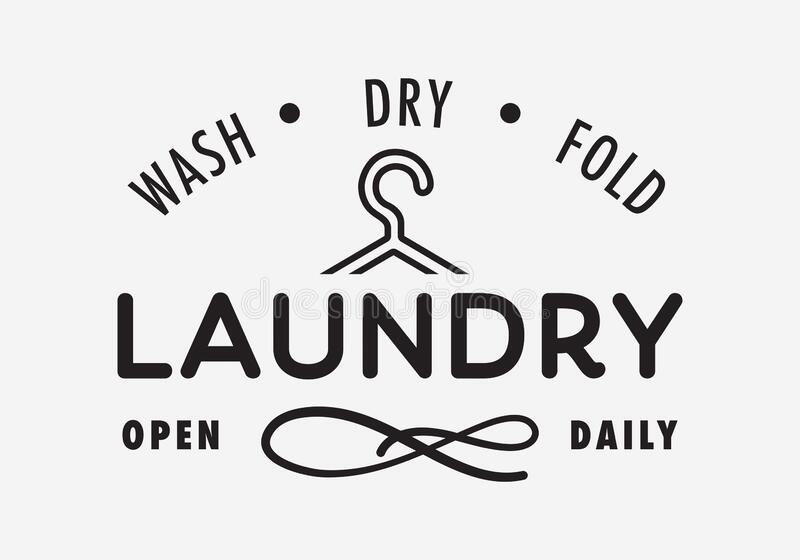 Laundry wash, dry and fold sign. Open daily stock photos