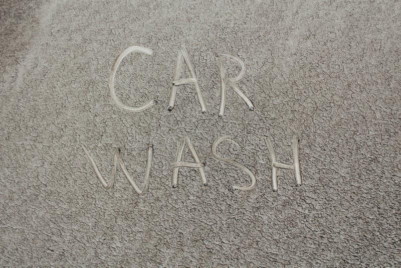 Inscription WASH ME And Sad Smiley On Dirty Car Stock ...